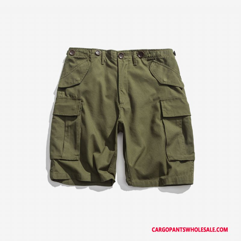 Pantaloncini Cargo Uomo Verde Dell'esercito Casual Tendenza Vintage Grande Tasca Pantaloncini