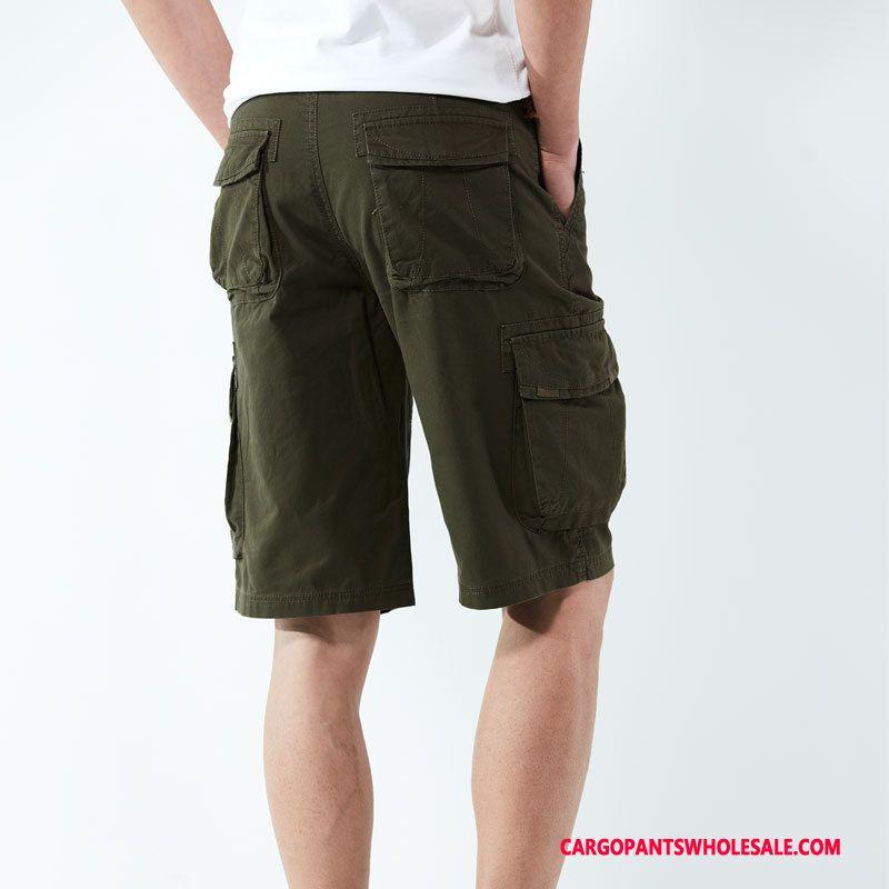 Cargo Shorts Men Army Green Straight Loose Multi-pocket Cargo Outdoor