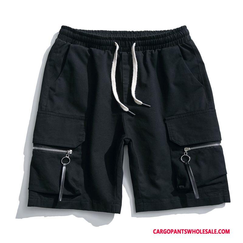 Cargo Shorts Men Black Zipper Large Size Cargo Washed Beach