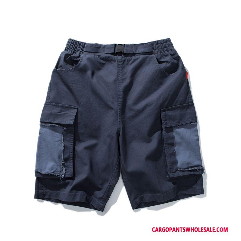 Cargo Shorts Men Blue Splice Shorts Loose Cargo Pants Leisure
