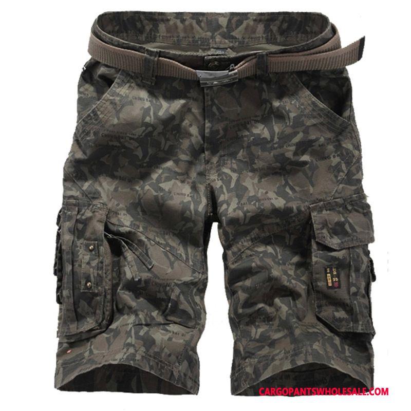 Cargo Shorts Men Camouflage Green Multi-pocket Large Size Cargo Leisure Shorts