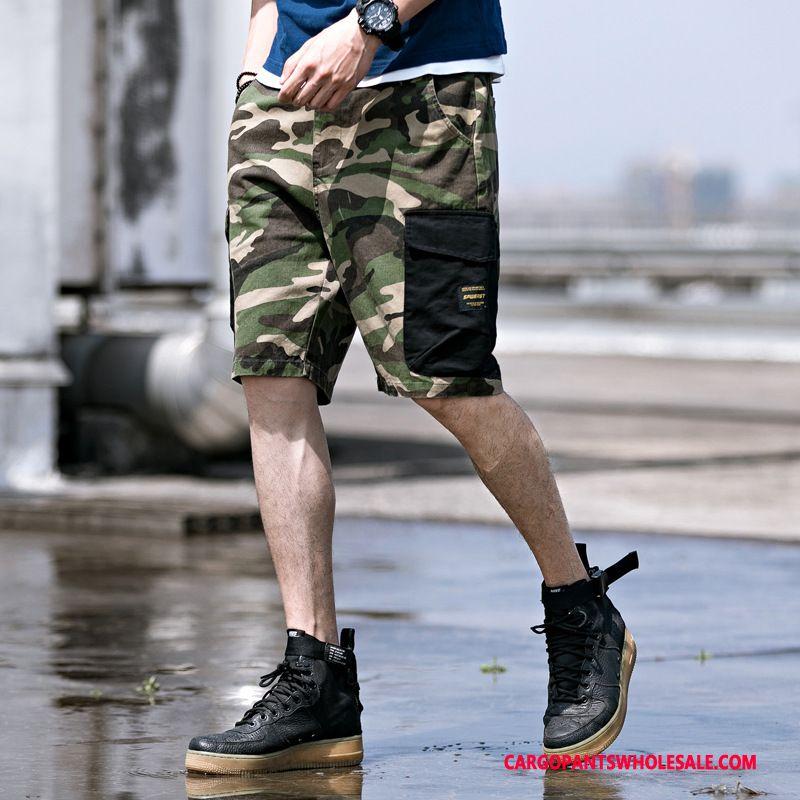 Cargo Shorts Men Camouflage Green Shorts Cargo Hipster Summer Tide Brand