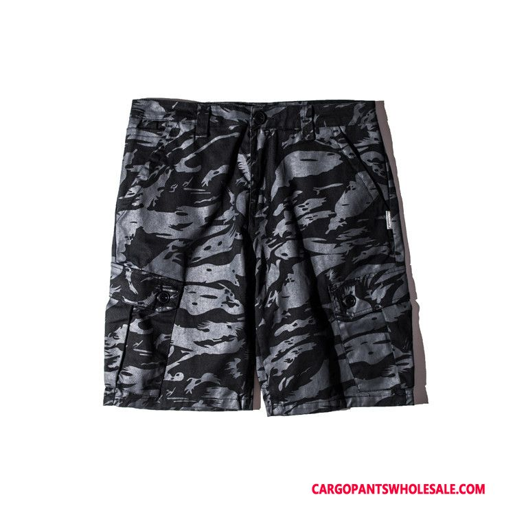 Cargo Shorts Men Camouflage Light Green Cargo Pants Explosion Summer Washed Tide Brand