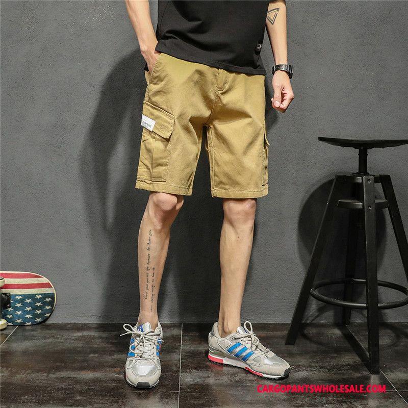 Cargo Shorts Men Khaki Green Leisure Loose Pants Straight Solid Color