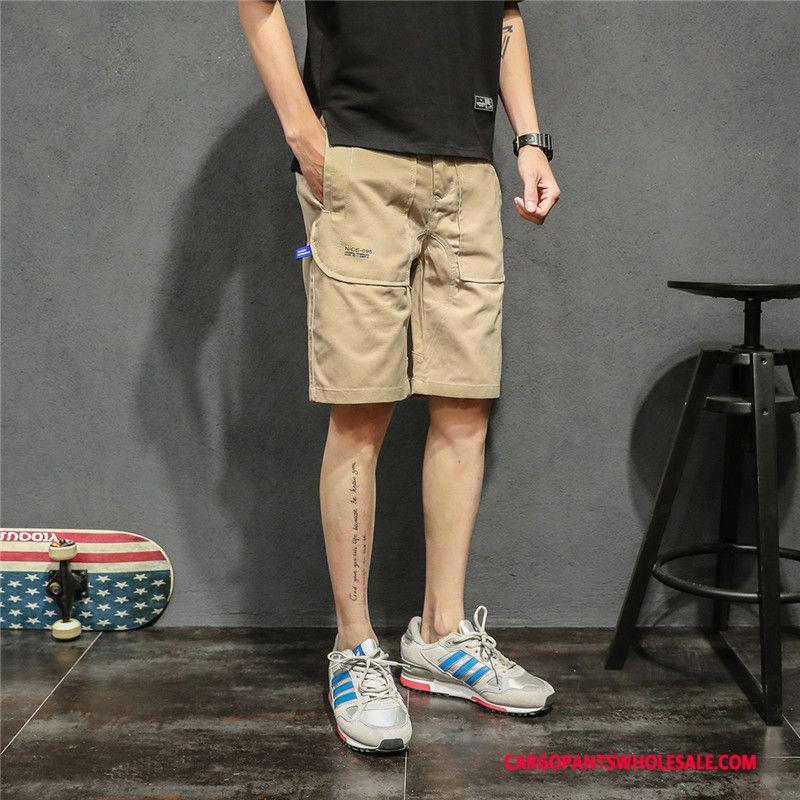 Cargo Shorts Men Khaki The New Leisure Cargo Summer Loose