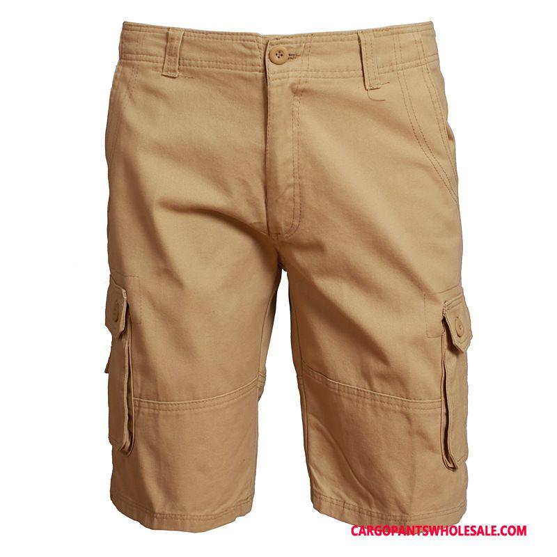 Cargo Shorts Men The New Summer Big Pocket Solid Color Tide