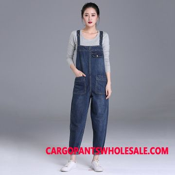 Bib Pants Women Jeans Large Size Fat The New Spring