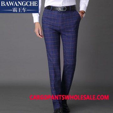 Dress Pants Male Lattice Pants Fashion England Slim Fit
