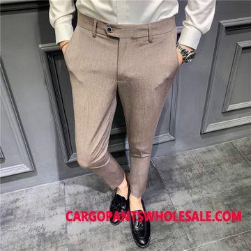 Dress Pants Men Green Slim Fit Pants Thin Section Leisure Long