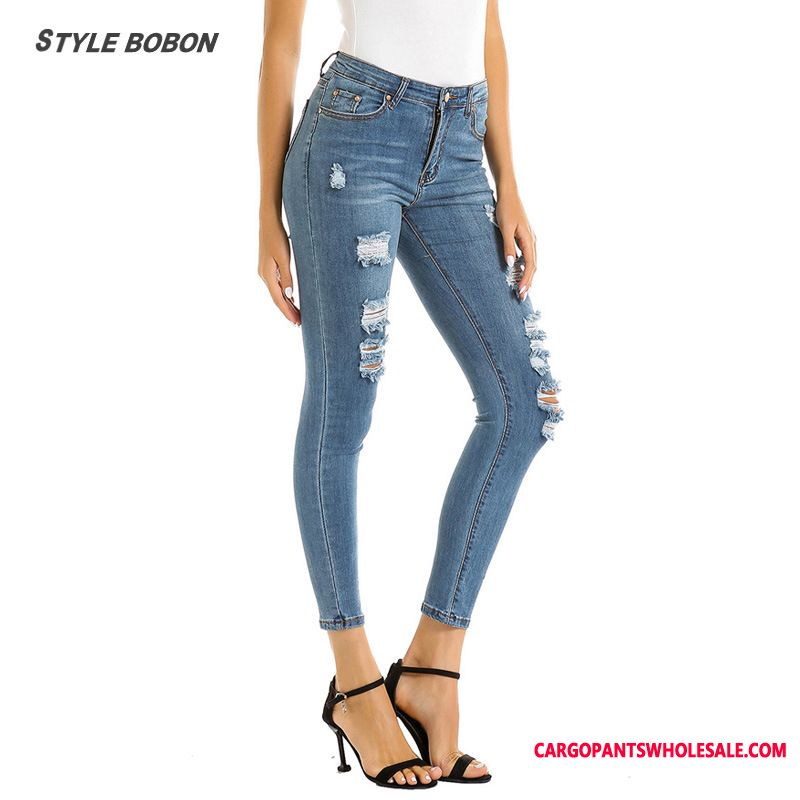 Jeans Female Washed Jeans Women Europe Elastic Force Hole