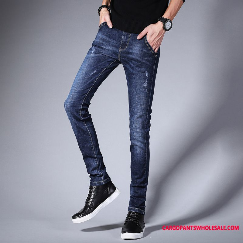 Jeans Male Green Pants Leisure Summer Jeans Trend