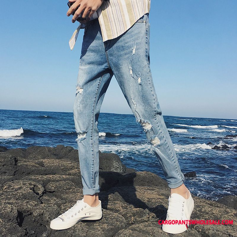 Jeans Male Light Blue Spring The New Men Hole Small Straight