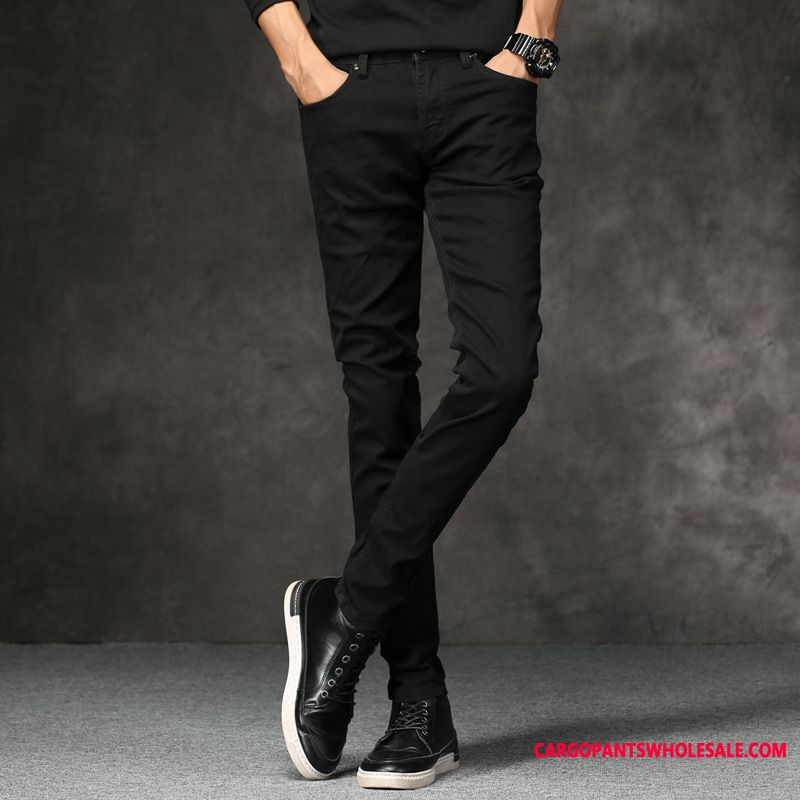 Jeans Men Green Summer Tide Jeans Slim Fit Thin Section