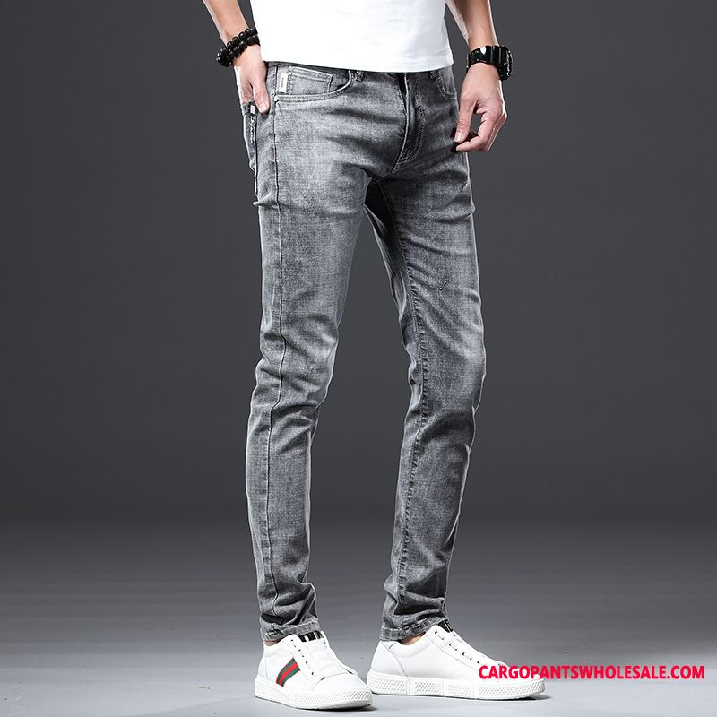 Jeans Men Green Tide Personality Jeans Slim Fit Spring