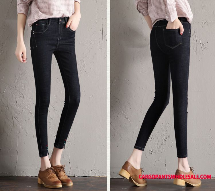 Jeans Women Embroidery Slim Jeans Spring Slim Fit