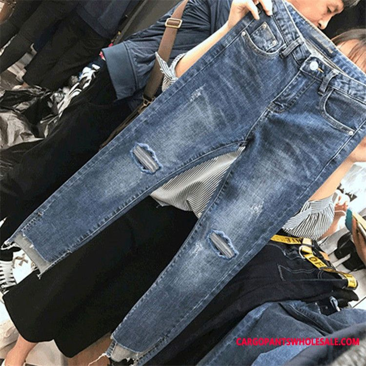 Jeans Women High Waist Elastic Force Straight Jeans Large Size