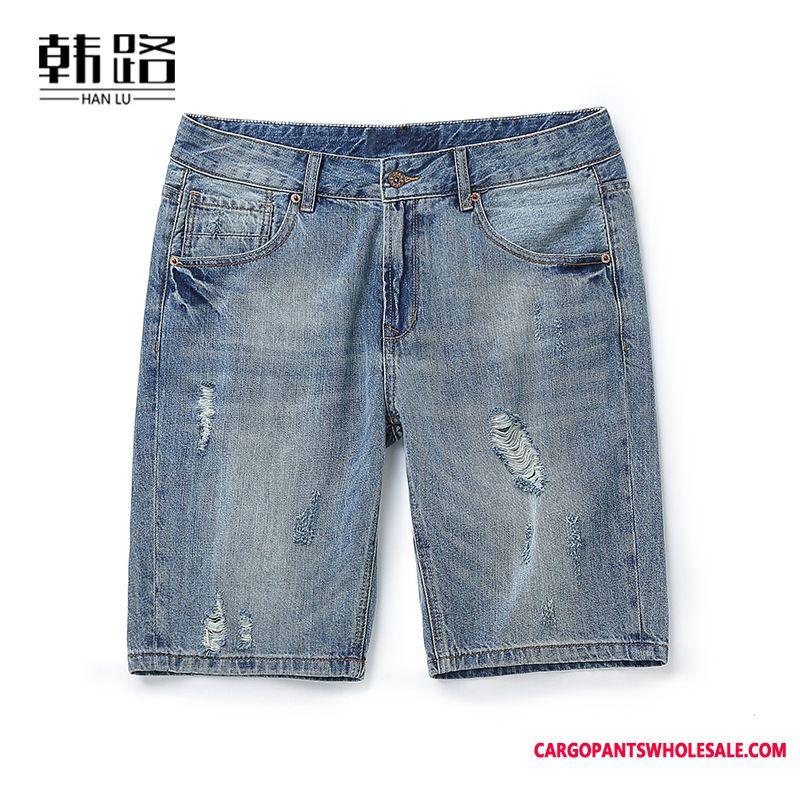 Shorts Male Distressed Medium Men Cowboy Pants Hole