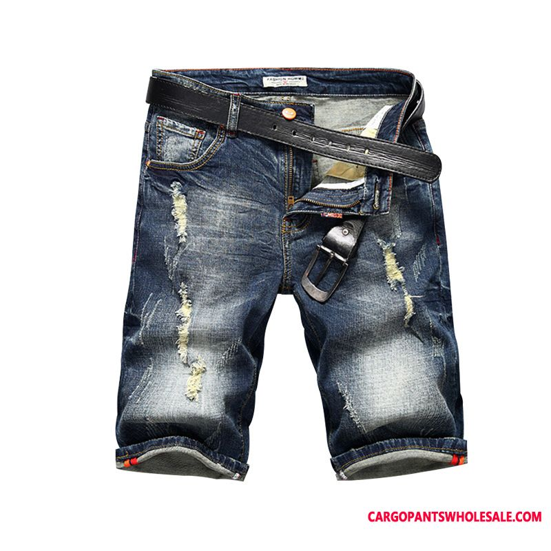 Shorts Male Hole Trend Men Straight Jeans Spring