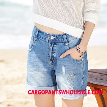 Shorts Women Shorts Large Size Hole Crimping Loose