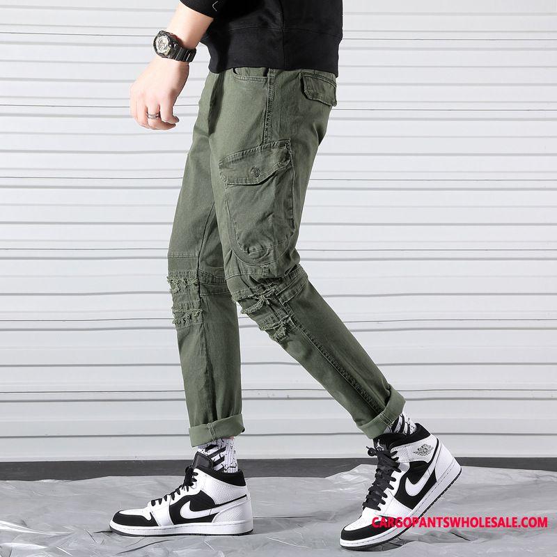 Pantalones Cargo Hombre Verde Nuevo Estudiante Marca Tendencia Calle Spring Baratos