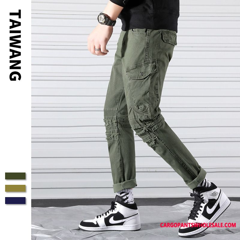 Cargo Pants Men Green Multiple Pockets Student Beam Foot Tide Brand The New