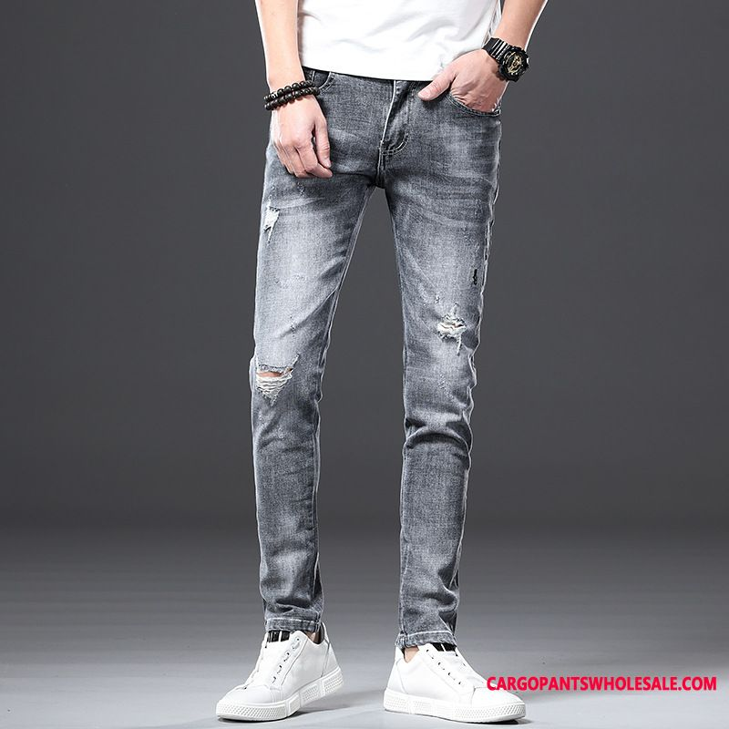 Jeans Male Green Slim Fit Hole Men The New Elastic Force Thin Section