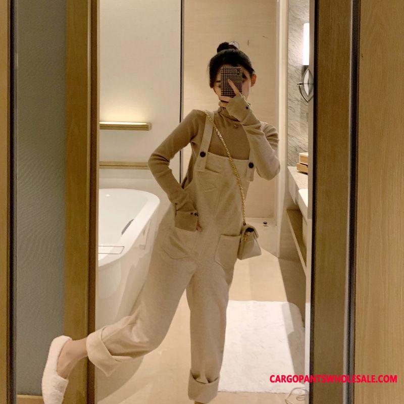 Bib Pants Women Knitting Hairy Autumn Fashion Suit