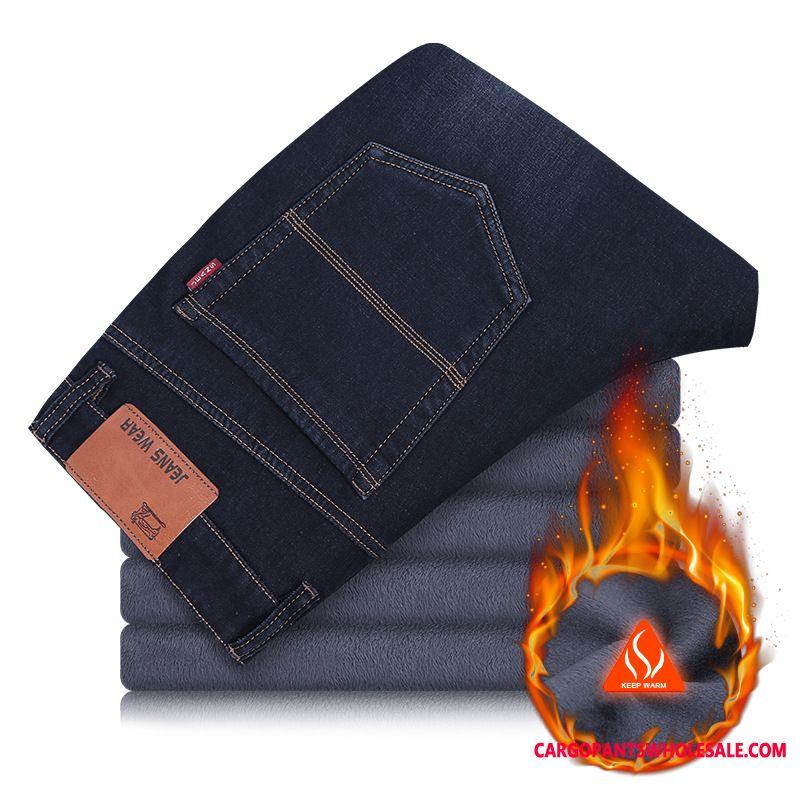 Jeans Male Deep Long Thicken Men High Waist Plus Velvet Middle Aged
