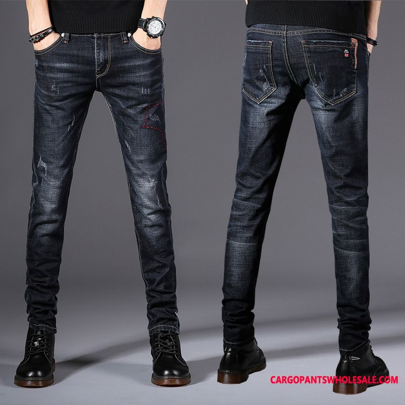 Jeans Male Green Tide Winter Clothing Men Pants Elastic Force Long