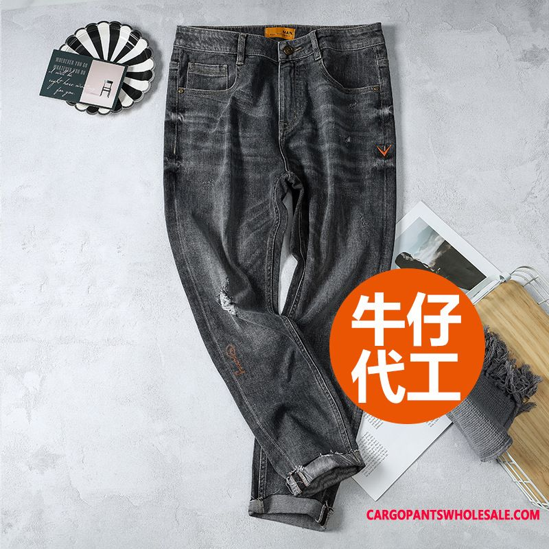 Jeans Male Hole Slim Fit Men Elastic Force Tide Straight