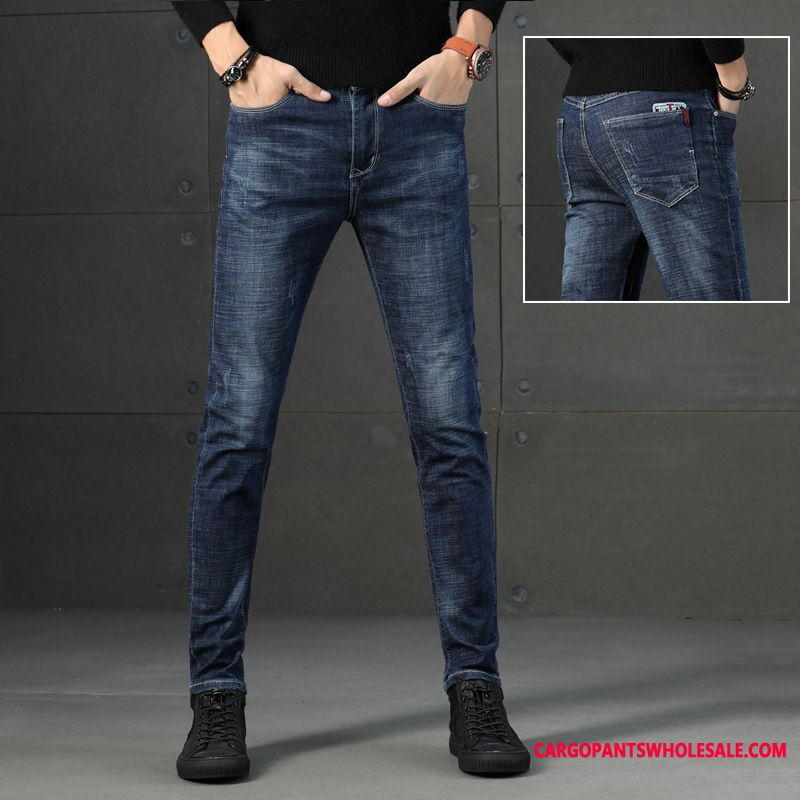 Jeans Male Small Jeans Men Slim Fit Elastic Force