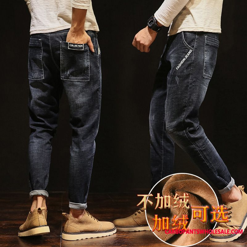Jeans Men Green Autumn Jeans Super Small Loose