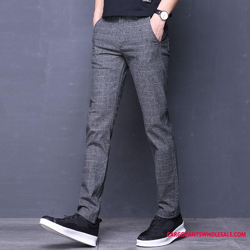 Pantaloni Abito Uomo Verde A Quadri Moda Autunno Piccola Dritto