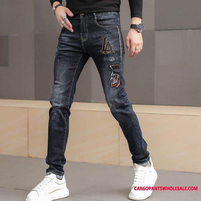 Jeans Male Black Slim Fit Pants Men Elastic Force Embroidery Jeans