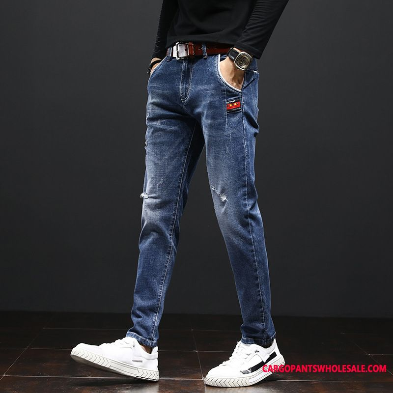 Jeans Male Blue The New Casual Pants Autumn Slim Fit Trousers