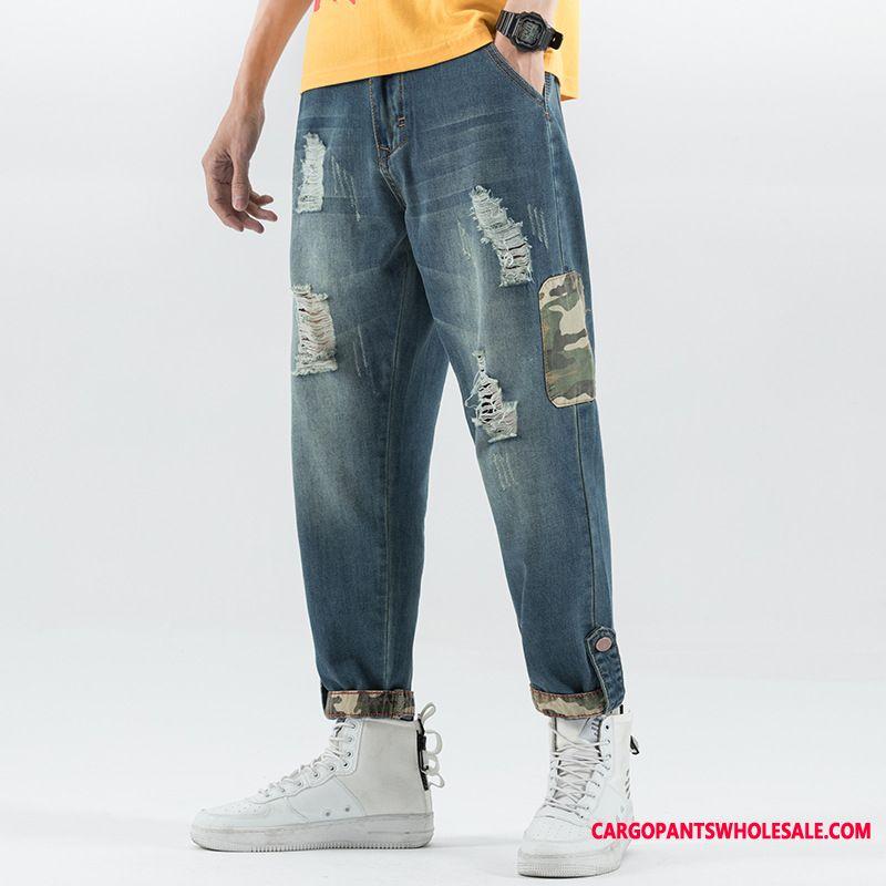 Jeans Male Green Cargo Pants Harlan Beam Foot Loose Cowboy