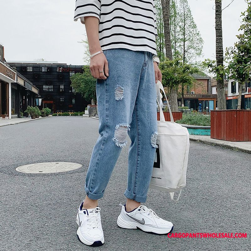 Jeans Male Green Jeans Solid Color Men The New Leisure Small