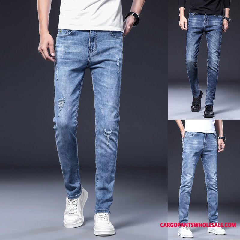Jeans Male Green Straight Hole Men Trend Jeans Leisure