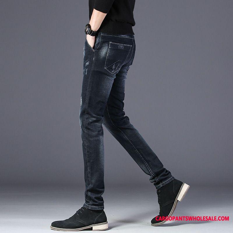 Jeans Male Green Tide Trend Men Slim Fit Pants Juvenile