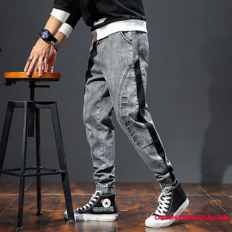 Jeans Men Gray Lace Trend Large Size Autumn Leisure