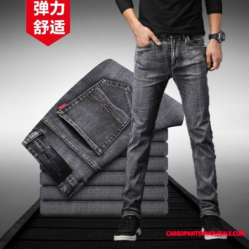 Jeans Men Green Gray Straight Autumn Pants Tide Brand Leisure