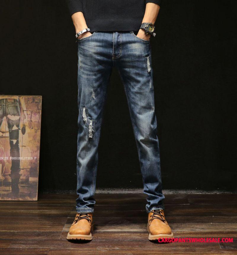 Jeans Men Slim Fit Hole Pants Straight Europe